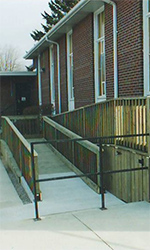 Community Building with Long Wooden Wheelchair Ramp