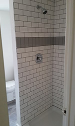 high contrast shower tiling