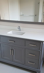 minimalist grey vanity and mirror
